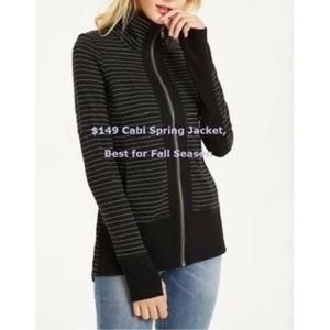 Cabi mock neck striped zip up jacket